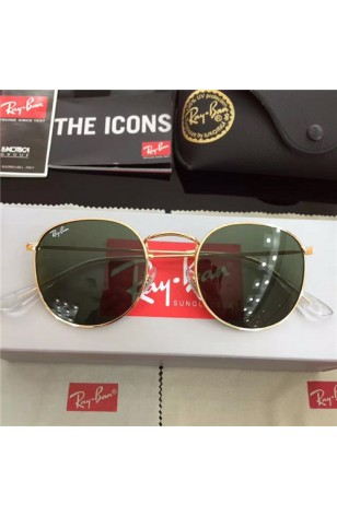 15ebde50bb31 FAKE RAY BAN RB3447 ROUND SUNGLASSES GOLD FRAME GREEN GRADIENT LENS OUTLET