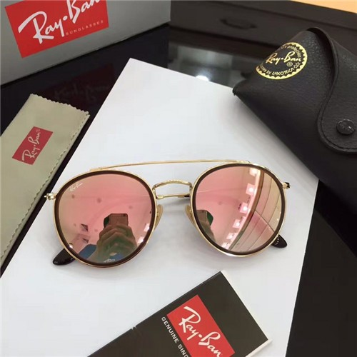 8328d08a7759 FAKE RAY BAN RB3647 ROUND SUNGLASSES GOLD FRAME PINK GRADIENT LENS OUTLET