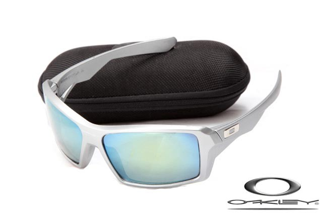 0900786451 CHEAP OAKLEY EYEPATCH SUNGLASSES SILVER FRAME BLUE LENS